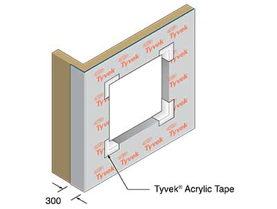 Example detail showing 'Tyvek' sealing tape around air barrier at structural opening