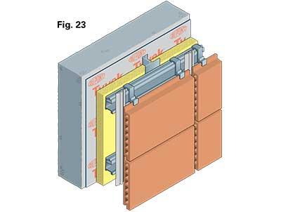 Detail showing 'Tyvek' air barrier on masonry/rainscreen construction