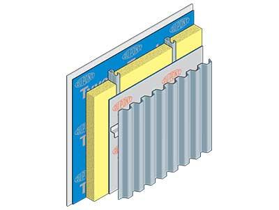 Detail showing 'Tyvek' air barrier on steel framed metal cladding construction