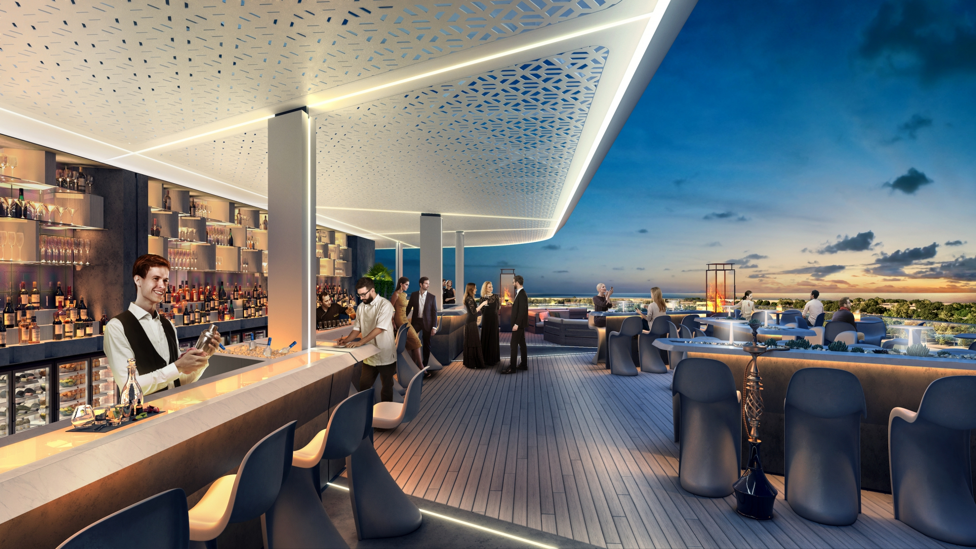 Rooftop Bar design visualisation